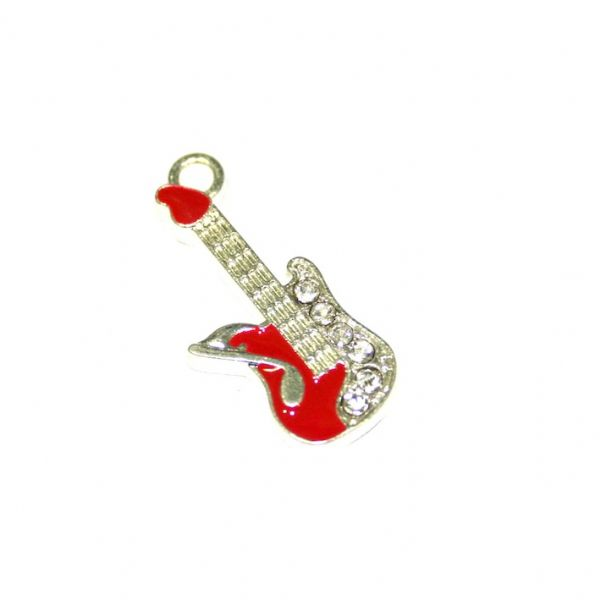 1 x 27*11mm silver plated red colour guitar with rhinestone enamel charm - S.D30 - CHE1234